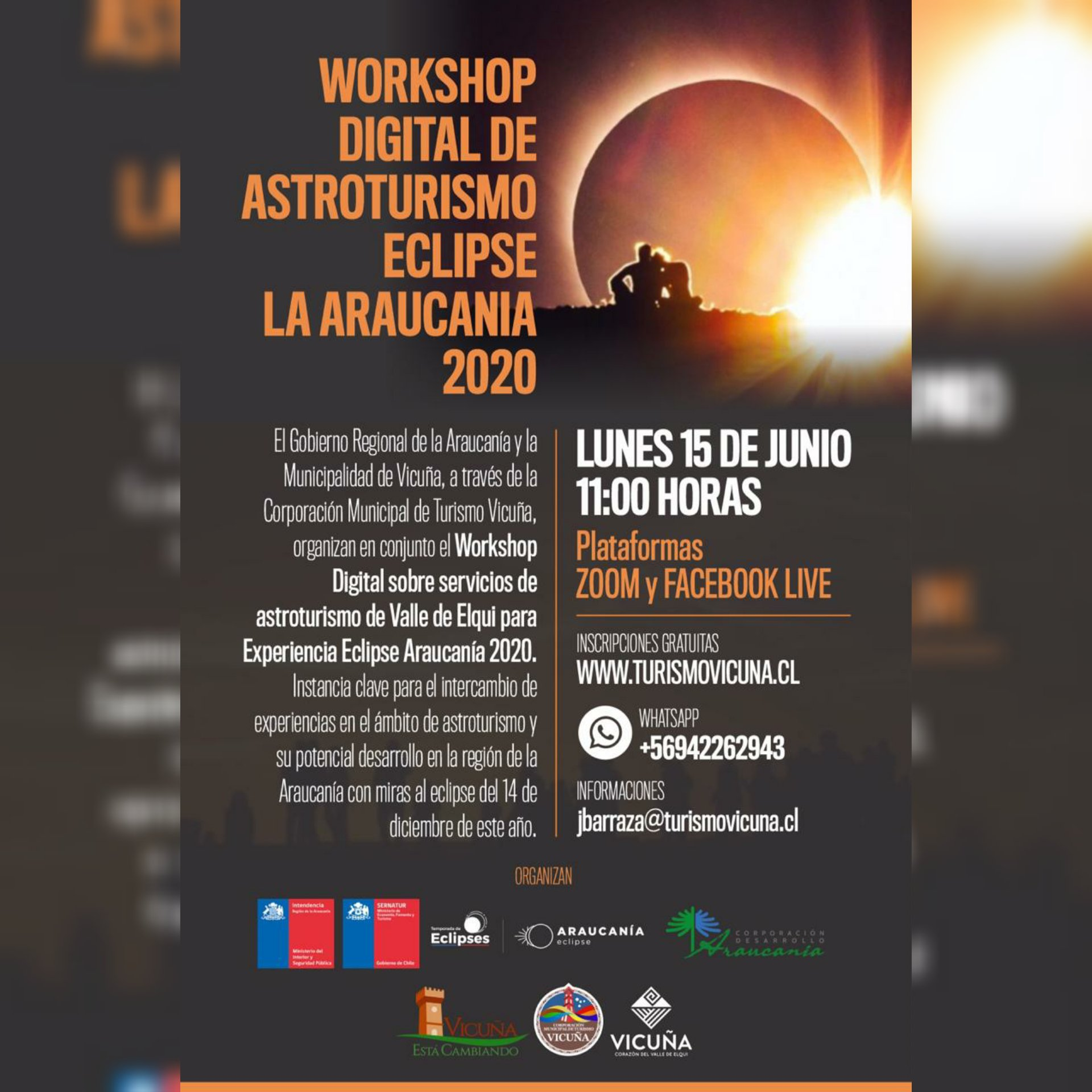 15 de junio: Workshop digital de astroturismo Eclipse #Araucanía 2020