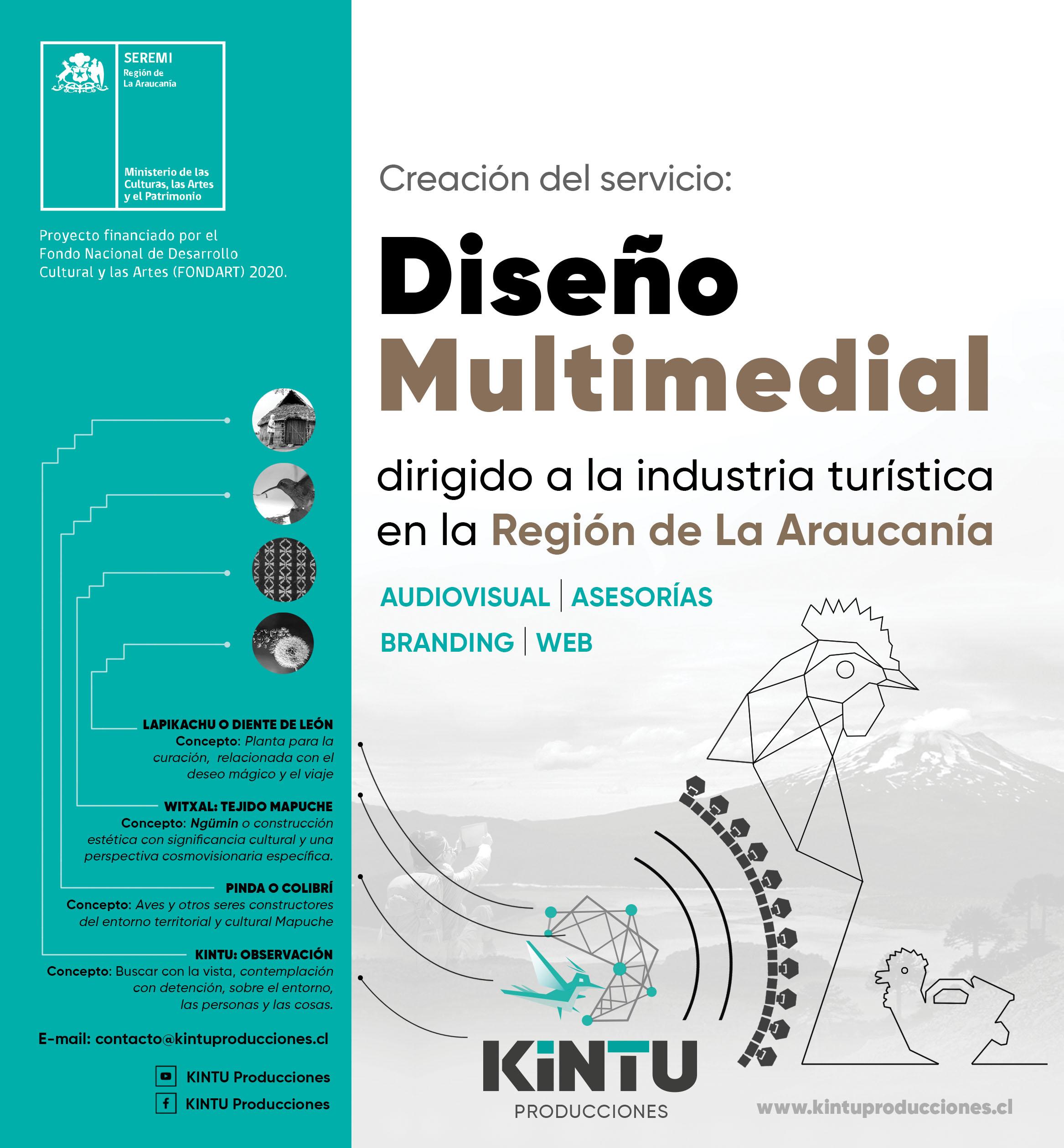KINTU Producciones es el nombre de un nuevo servicio de diseño multimedial creado y dirigido al rubro turístico Mapuche de La Araucanía.